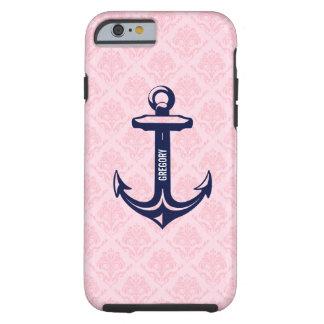Monogramed Blue Nautical Anchor Paste Pink Damask Tough iPhone 6 Case