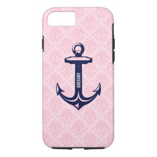 Monogramed Blue Nautical Anchor Paste Pink Damask iPhone 7 Case