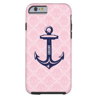 Monogramed Blue Nautical Anchor Paste Pink Damask Tough iPhone 6 Case