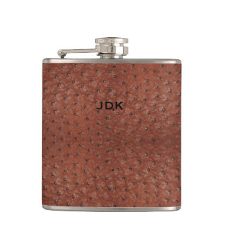 Monogramed Brown Ostrich Leather Look Flask