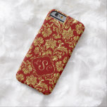 Monogramed Burgundy & Gold Floral Damasks Barely There iPhone 6 Case