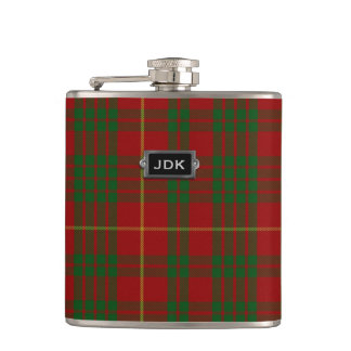 Monogramed Clan Cameron Tartan Plaid Flask