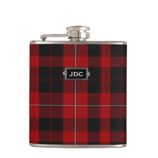 Monogramed Clan Cunningham Tartan Plaid Flask