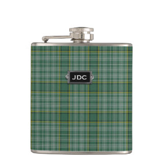 Monogramed Clan Currie Tartan Plaid Flask