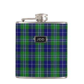 Monogramed Clan Douglas Tartan Plaid Flask
