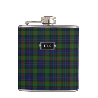Monogramed Clan Gunn Tartan Plaid Flask