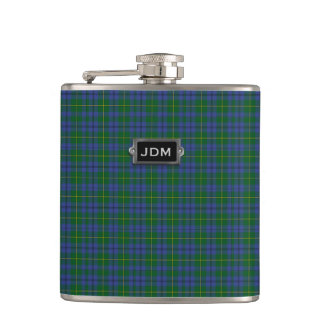 Monogramed Clan Johnston Tartan Plaid Flask