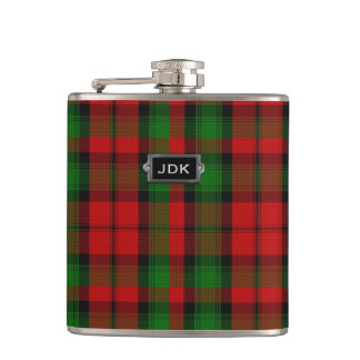 Monogramed Clan Kerr Tartan Plaid Flask