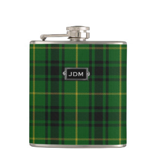 Monogramed Clan MacArthur Tartan Plaid Flask