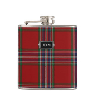 Monogramed Clan MacFarlane Tartan Plaid Flask
