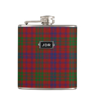 Monogramed Clan Ross Tartan Plaid Flask