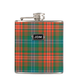 Monogramed Clan Wilson Tartan Plaid Flask