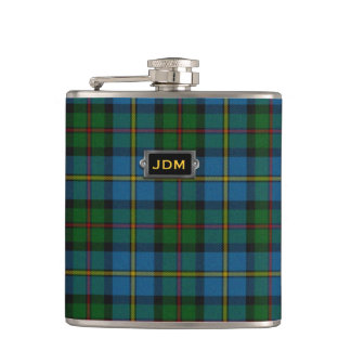 Monogramed Classic MacLeod Tartan Plaid Flask