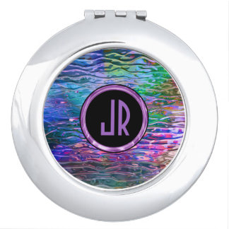 Monogramed Colorful Abstract Melting Stained Glass Vanity Mirror