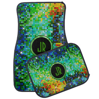 Monogramed Colorful Glitter Green Overtones Car Mat