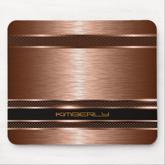 Monogramed Copper Metallic Brushed Aluminum Look Mouse Pad