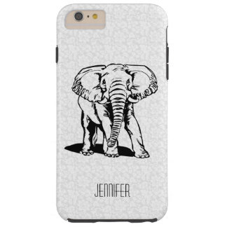 Monogramed Cute Black Elephant Line Drawing Tough iPhone 6 Plus Case