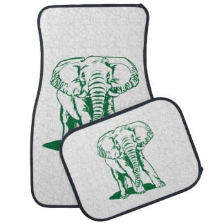 Monogramed Cute Hunter Green Elephant Line Drawing Car Mat