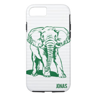 Monogramed Cute Hunter Green Elephant Line Drawing iPhone 8/7 Case