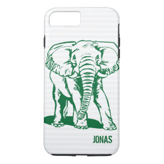 Monogramed Cute Hunter Green Elephant Line Drawing iPhone 8 Plus/7 Plus Case