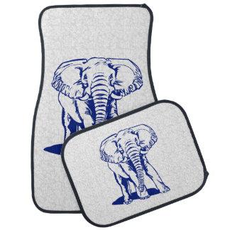 Monogramed Cute Navy Blue Elephant Line Drawing Car Mat