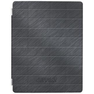 Monogramed Dark Gray Carbon Fiber Metallic Texture iPad Cover