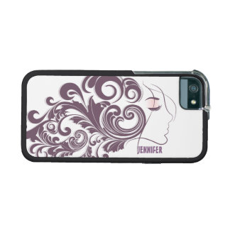 Monogramed Elegant Abstract Floral Hair Design iPhone 5/5S Covers
