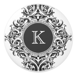 Monogramed Elegant Gray Floral Ornament Ceramic Knob
