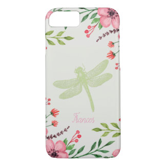 Monogramed Flowers With Green Dragonfly iPhone 8/7 Case
