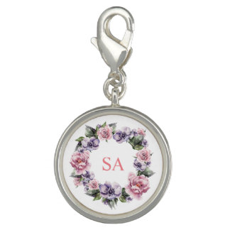Monogramed Garland of Flowers Clasp Charm