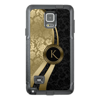 Monogramed Geometric Design Black & Gold Damasks OtterBox Samsung Note 4 Case