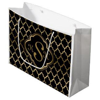 Monogramed Gold & Black Quatrefoil Pattern Large Gift Bag