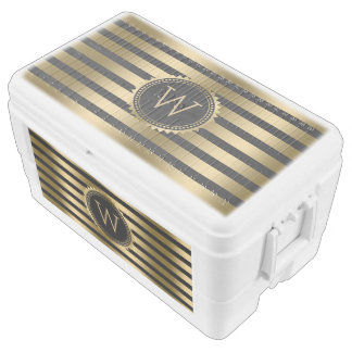 Monogramed Gold & Black Stripes Chest Cooler