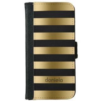 Monogramed Gold & Black Stripes Geometric Pattern iPhone 6 Wallet Case