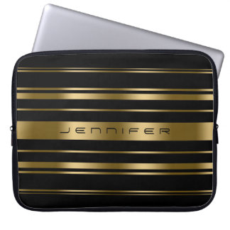 Monogramed Gold & Black Stripes Pattern Laptop Sleeve