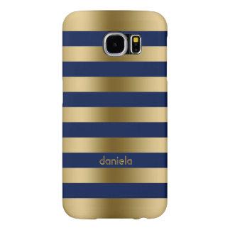 Monogramed Gold & Blue Stripes Geometric Pattern
