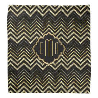 Monogramed Gold Glitter & Zigzag Chevron Bandana