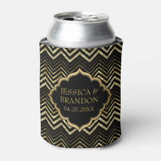 Monogramed Gold Glitter & Zigzag Chevron Pattern Can Cooler