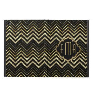 Monogramed Gold Glitter & Zigzag Chevron Pattern Powis iPad Air 2 Case