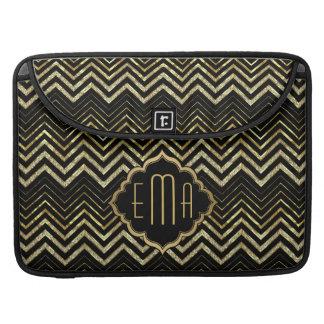 Monogramed Gold Glitter & Zigzag Chevron Pattern Sleeve For MacBook Pro