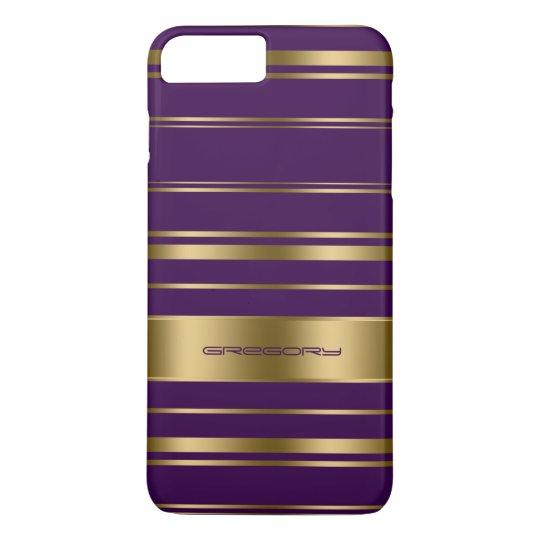 Monogramed Gold & Purple Stripes Pattern iPhone 7 Plus Case