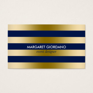Monogramed Gold Stripes Geometric Pattern 2 Business Card
