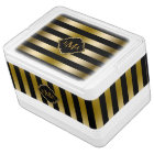 Monogramed Gold Stripes Geometric Pattern Igloo Cool Box