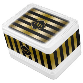 Monogramed Gold Stripes Geometric Pattern Igloo Cool Box