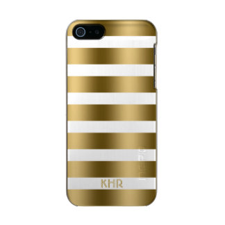 Monogramed Gold Stripes Over White Background Incipio Feather® Shine iPhone 5 Case