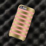 Monogramed Gold Stripes Pink Background
