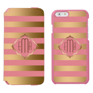 Monogramed Gold Stripes & Pink Geometric Pattern Incipio Watson™ iPhone 6 Wallet Case