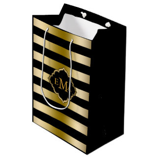 Monogramed Gold Tones & Black Stripes Pattern Medium Gift Bag