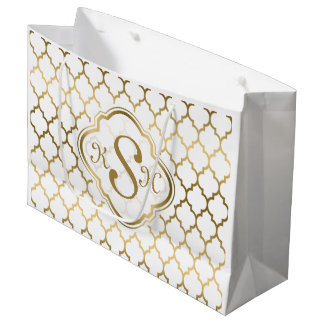 Monogramed Gold & White Quatrefoil Pattern Large Gift Bag