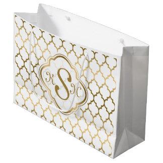 Monogramed Gold & White Quatrefoil Pattern Large Gift Bag
